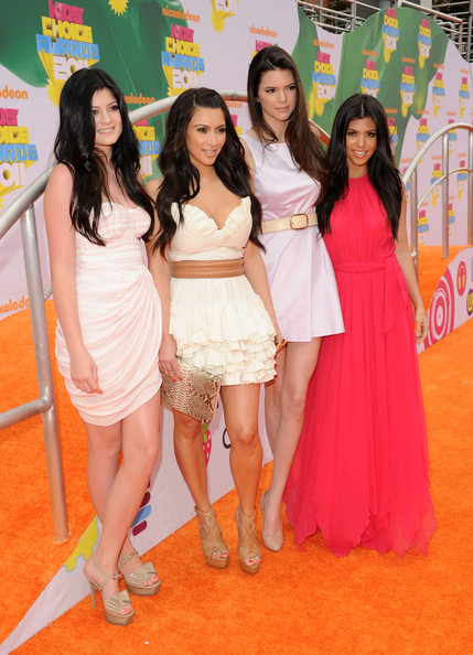 Kendall Jenner (L-R) TV personalities Kendall Jenner, Kim Kardashian, Kylie Jenner, and Kourtney Kardashian arrive at Nickelodeon's 24th Annual Kids' Choice Awards at Galen Center on April 2, 2011 in Los Angeles, California.