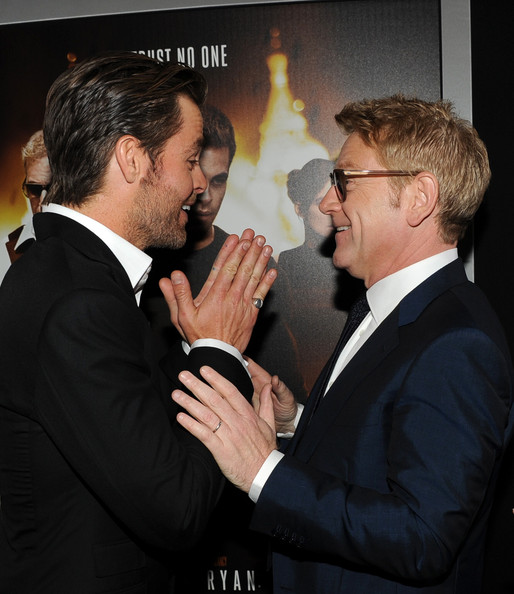 'Jack Ryan: Shadow Recruit' Premieres in Hollywood — Part 2 [jack ryan: shadow recruit,event,gesture,suit,formal wear,white-collar worker,conversation,premiere,businessperson,kenneth branagh,chris pine,director,tcl chinese theatre,paramount pictures,red carpet,l,premiere,premiere]