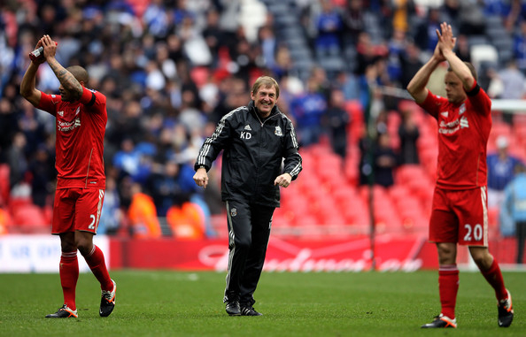 Liverpool v Everton - FA Cup Semi Final [player,sports,team sport,ball game,football player,soccer player,sport venue,sports equipment,soccer,tournament,manager,kenny dalglish,jay spearing,glen johnson,liverpool,everton,budweiser semi final,fa cup semi final,victory,match]