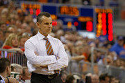 Head coach Billy Donovan of the Florida Gators reacts during the game against the Kentucky Wildcats at the Stephen C. O'Connell Center on February 7, 2015 in Gainesville, Florida.