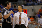 Head coach Billy Donovan of the Florida Gators  talks to an official during the first half of the game against the Kentucky Wildcats at Stephen C. O'Connell Center on February 7, 2015 in Gainesville, Florida.