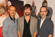 (L-R) Rolf Snoeren, Michael Huisman and Viktor Horsting attends  the launch of an Interactive Installation with Ketel One Family-Made Vodka Fetes Fashion Artists Viktor&Rolf, alongside Visionaire at Cadillac House on September 8, 2018 in New York City.