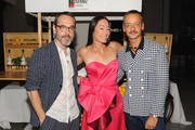 (L-R) Rolf Snoeren, Founder of Visionaire Cecilia Dean and Viktor Horsting attends  the launch of an Interactive Installation with Ketel One Family-Made Vodka Fetes Fashion Artists Viktor&Rolf, alongside Visionaire at Cadillac House on September 8, 2018 in New York City.