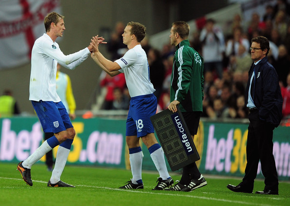 Kevin Davies Kevin Davies of England comes on for Peter Crouch of England during the UEFA EURO 2012 Group G Qualifying match between England and Montenegro at Wembley Stadium on October 12, 2010 in London, England.
