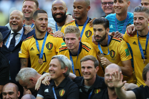 Belgium vs. England: 3rd Place Playoff - 2018 FIFA World Cup Russia [photo,team,social group,product,fan,team sport,player,championship,international rules football,sports,competition event,players,place,medals,belgium,russia,england,saint petersburg stadium,3rd place playoff - 2018 fifa world cup,russia 3rd place playoff]