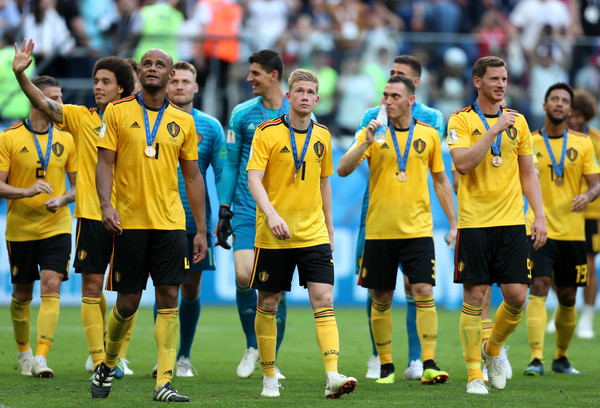 Belgium vs. England: 3rd Place Playoff - 2018 FIFA World Cup Russia [player,sports,team,team sport,ball game,soccer player,football player,sport venue,sports equipment,football,3rd place playoff - 2018 fifa world cup,sides victory,match,russia 3rd place playoff,2018 fifa world cup,belgium,russia,england,saint petersburg stadium,players]