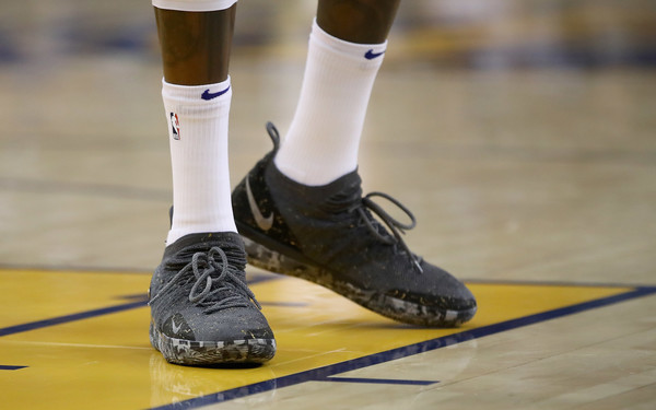 0a8bfd3fbf2b Golden State Warriors. Oklahoma City Thunder vs. Golden State Warriors. In  This Photo  Kevin Durant. A close-up of the Nike sneakers worn ...