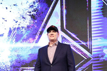 Kevin Feige Trinh Tran Marvel Studios' 'Avengers: Endgame' South Korea Premiere - Filmmakers Press Conference In Seoul