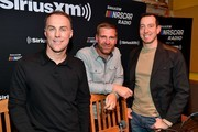 SiriusXM Host Kevin Harvick, Clint Boyer, and Kyle Busch arrive at Margaritaville on December 04, 2019 in Nashville, Tennessee.