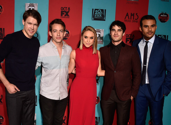 'American Horror Story: Freak Show' Screening [american horror story: freak show,red,event,premiere,performance,arrivals,actors,becca tobin,kevin mchale,darren criss,chord overstreet,jacob artist,l-r,premiere screening of fx]