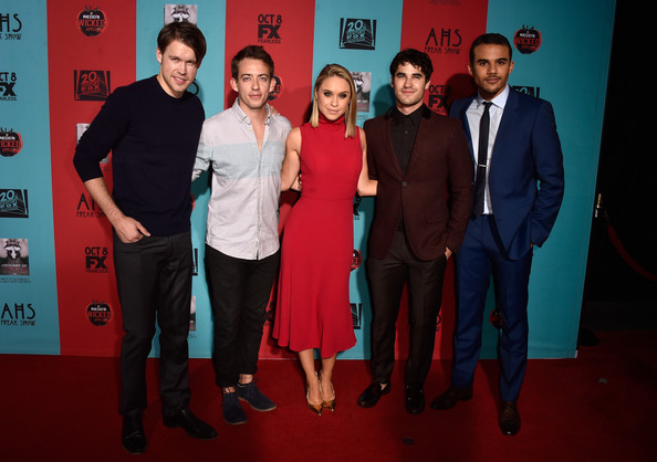 'American Horror Story: Freak Show' Screening [american horror story: freak show,red,event,premiere,award,flooring,red carpet,carpet,suit,performance,arrivals,actors,becca tobin,kevin mchale,darren criss,chord overstreet,jacob artist,l-r,premiere screening of fx]