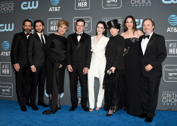 The 24th Annual Critics' Choice Awards - Press Room [the marvelous mrs. maisel,premiere,event,suit,carpet,white-collar worker,formal wear,little black dress,tuxedo,winner,winners,daniel palladino,michael zegen,caroline aaron,l-r,award,room,critics choice awards]