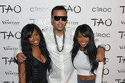Rapper French Montana (C), actress Khadijah Haqq (L) and her sister, actress Malika Haqq (R), arrive at the Tao Nightclub at The Venetian Las Vegas to celebrate Khloe Kardashian's birthday on July 4, 2014 in Las Vegas, Nevada. Kardashian turned 30 on June 27.