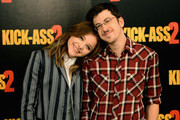 Actors Chloe Grace Moretz and Christopher Mintz Plasse attend the 'Kick-Ass 2' photo call at Claridges Hotel on August 5, 2013 in London, England.