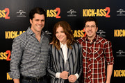 Director Jeff Wadlow and actors Chloe Grace Moretz and Christopher Mintz Plasse attend the 'Kick-Ass 2' photo call at Claridges Hotel on August 5, 2013 in London, England.
