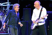 Singer Roger Daltrey (L) and guitarist Pete Townshend of The Who perform on the first night of the band's residency at The Colosseum at Caesars Palace on July 29, 2017 in Las Vegas, Nevada.