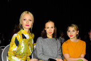 Franziska Knuppe, Alina Levshin and Anna Maria Muehe attend the Kilian Kerner show during the Mercedes-Benz Fashion Week Berlin Autumn/Winter 2016 at Ellington Hotel on January 20, 2016 in Berlin, Germany.