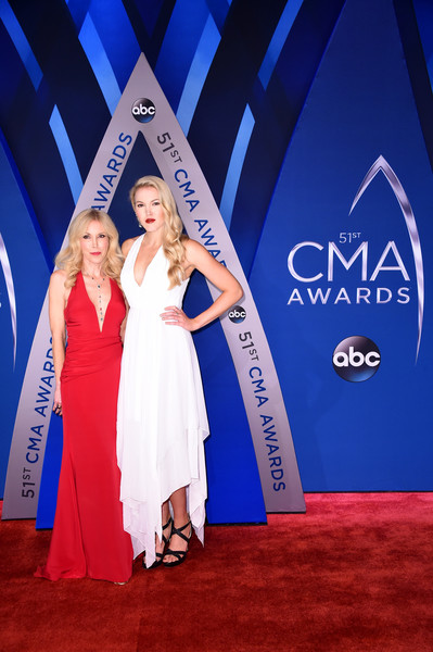 The 51st Annual CMA Awards - Arrivals [carpet,beauty,red carpet,fashion,dress,flooring,premiere,event,electric blue,award,arrivals,kim campbell,ashley campbell,cma awards,nashville,tennessee,bridgestone arena]