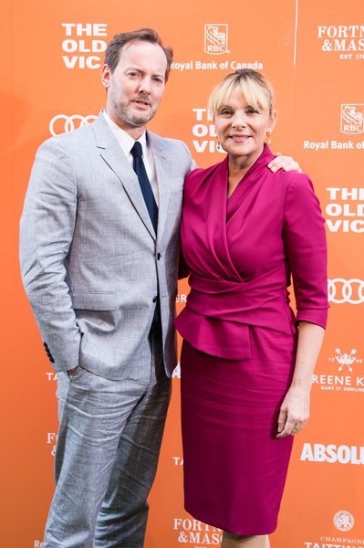 The Old Vic Midsummer Party - Arrivals [event,suit,carpet,premiere,formal wear,white-collar worker,party - arrivals,old vic midsummer,the old vic,kim cattrall,russel thomas,l-r,england,london,the brewery,party]