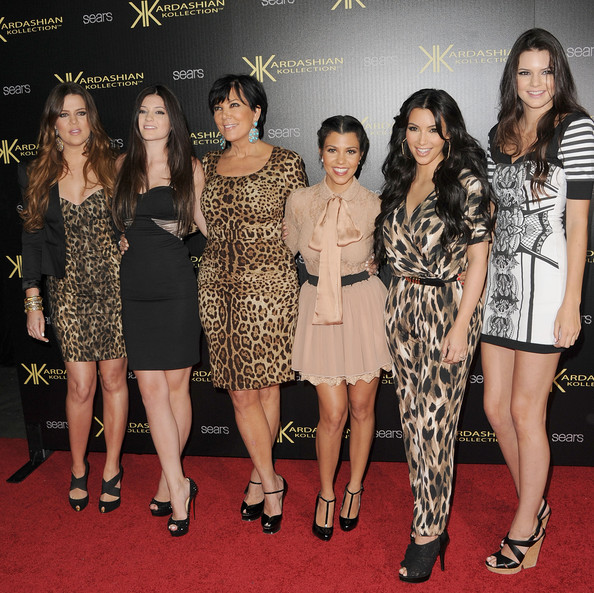 Kardashian Kollection Launch Party [launch party,kardashian kollection,l-r,clothing,event,fashion,dress,red carpet,fashion model,premiere,carpet,flooring,cocktail dress,reality tv stars,khloe kardasian,kourtney kardashian,kim kardashian,kris kardashian,kylie jenner,kendall jenner]