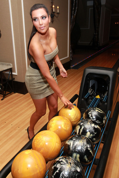 Kim Kardashian Kim Kardashian bowls during the grand opening of High Rollers Luxury Lanes and Lounge at Foxwoods Resort Casino on October 9, 2010 in Mashantucket, Connecticut.