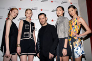 (L-R) Models Luisa Bianchin, Natasha Belobrovik, Designer Kinder Aggugini and Ping Hue attend the launch of the Kinder Aggugini For Impulse Spring 2011 Capsule Collection for Macy's at Gramercy Park Hotel on January 26, 2011 in New York City.
