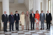 (L-R) Herman van Rompuy, Jean Luc Dehaene, Elio Di Rupo, Queen Paola and King Abert II of Belgium, Prince Philippe and Princess Mathilde of Belgium, Guy Verhofstadt and Yves Leterme meet former Prime Ministers of Belgium at Laeken Castle on July 10, 2013 in Brussels, Belgium.