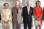 (L-R) Queen Paola, King Albert, Prince Philippe and Princess Mathilde of Belgium meet former Prime Ministers of Belgium at Laeken Castle on July 10, 2013 in Brussels, Belgium.