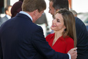 King Felipe VI of Spain and Queen Letizia of Spain are welcomed by King Willem-Alexander of the Netherlands upon their arrival to Noordeinde palace on October 15, 2014 in The Hague, Netherlands. Spain's royal couple are in the Netherlands for a one-day official visit and will meet with Dutch Prime Minister Mark Rutte later today.