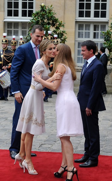 Queen Letizia of Spain, King Felipe VI of Spain, French Prime Minister Manuel Valls and his wife French violonist Anne Gravoin arrive at the Hotel Matignon on July 22, 2014 in Paris, France. King Felipe VI and Queen Letizia of Spain are on an offical day visit in France.