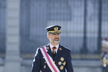 King Felipe VI of Spain Spanish Royals Celebrate New Year's Military Parade 2017