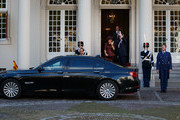 King Willem-Alexander of the Netherlands and Queen Maxima of the Netherlands wave goodbye to King Felipe VI of Spain and Queen Letizia of Spain goodbye after a lunch at Noordeinde palace on October 15, 2014 in The Hague, Netherlands. Spain's royal couple are in the Netherlands for a one-day official visit.