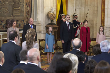 King Juan Carlos I Queen Letizia of Spain King Felipe of Spain Delivers Collar of The Distinguished 'Toison de Oro' to Princess Leonor