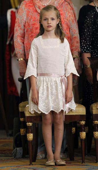 (L-R)  Princess Leonor of Spain attends the official abdication ceremony at the Royal Palace on June 18, 2014 in Madrid, Spain. King Juan Carlos of Spain's abdication takes effect at midnight local time.