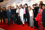 "Producer Liz Watts, Lily-Rose Depp, Tom Glynn-Carney, director David Michod, Timothee Chalamet, producer Dede Gardner, Tom Lawrence and guests attend ""The King"" UK Premiere during the 63rd BFI London Film Festival at Odeon Luxe Leicester Square on October 03, 2019 in London, England."