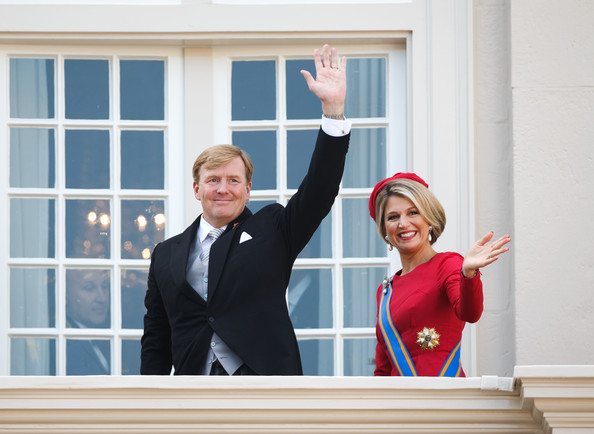 Dutch King Willem-Alexander and Queen Maxima wave from the Noordeinde palace balcony on September 16, 2014 in The Hague, Netherlands. The Dutch King officially opened the parliamentary year by reading a speech outlining the government plans for the year ahead.