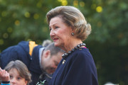 Queen Sonja of Norway waits for King Willem-Alexander and Queen Maxima of The Netherlands during their official visit to Oslo on October 2, 2013 in Oslo, Norway.