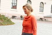 Queen Maxima of The Netherlands arrives at the Prime Minister?s office during an official visit to Oslo on October 2, 2013 in Oslo, Norway.
