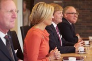 King Willem-Alexander (3rd L) and Queen Maxima of The Netherlands (2nd L) attend a meeting at the Prime Minister's office during an official visit to Oslo on October 2, 2013 in Oslo, Norway.