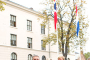 (L-R) Norwegian Prime Minister Jens Stoltenberg, Queen Maxima of The Netherlands and King Willem-Alexander of The Netherlands pose outside the Prime Minister's office during the Dutch royal couple's official visit to Oslo on October 2, 2013 in Oslo, Norway.