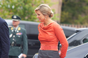 Queen Maxima of The Netherlands arrives for a meeting at the Prime Minister's office during an official visit to Oslo on October 2, 2013 in Oslo, Norway.
