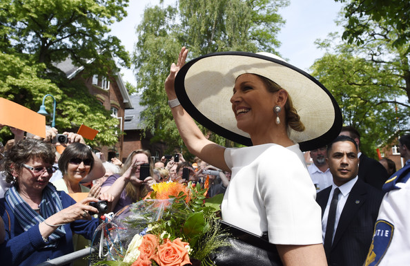 Queen Maxima of The Netherlands greets wellwishers on May 26, 2014 in Leer, Germany.