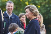 Queen Sonja of Norway waits for King Willem-Alexander of The Netherlands and Queen Maxima of The Netherlands at the Royal Palace during the Dutch royal couple's official visit to Oslo on October 2, 2013 in Oslo, Norway.