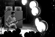 This image has been converted to black and white.)  Jared Followill of Kings Of Leon performs on stage on AT&T at iHeartRadio Theater LA on January 30, 2017 in Burbank, California.