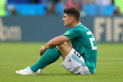 Mario Gomez of Germany looks dejected following the 2018 FIFA World Cup Russia group F match between Korea Republic and Germany at Kazan Arena on June 27, 2018 in Kazan, Russia.