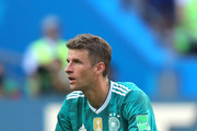 Thomas Mueller of Germany looks dejected following the 2018 FIFA World Cup Russia group F match between Korea Republic and Germany at Kazan Arena on June 27, 2018 in Kazan, Russia.