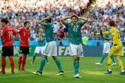 Mario Gomez of Germany reacts during the 2018 FIFA World Cup Russia group F match between Korea Republic and Germany at Kazan Arena on June 27, 2018 in Kazan, Russia.