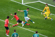 Mario Gomez of Germany  is tackled by Youngsun Yun of Korea Republic during the 2018 FIFA World Cup Russia group F match between Korea Republic and Germany at Kazan Arena on June 27, 2018 in Kazan, Russia.