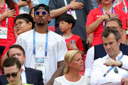 Jerome Boateng of Germany looks on from the stands, serving a match suspension following a red card in a previous game prior to  the 2018 FIFA World Cup Russia group F match between Korea Republic and Germany at Kazan Arena on June 27, 2018 in Kazan, Russia.