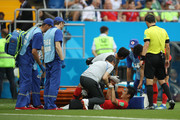 Yong Lee of Korea Republic receives medical treatment during the 2018 FIFA World Cup Russia group F match between Korea Republic and Mexico at Rostov Arena on June 23, 2018 in Rostov-on-Don, Russia.